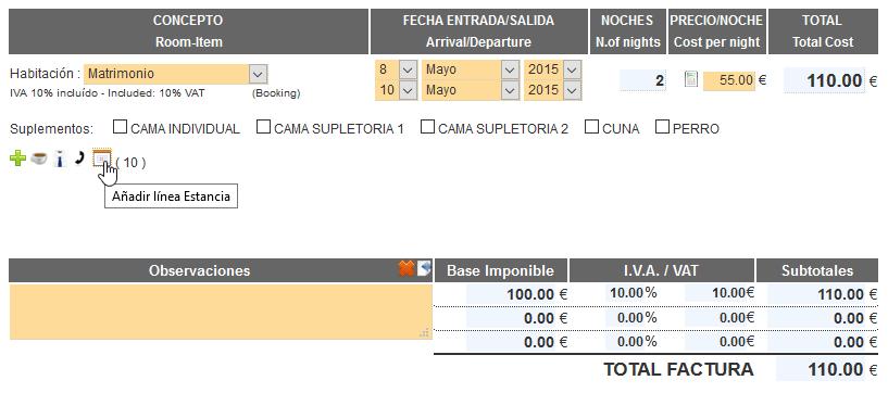 Nueva versión 1.7 - Agregar nueva línea de estancia en la factura